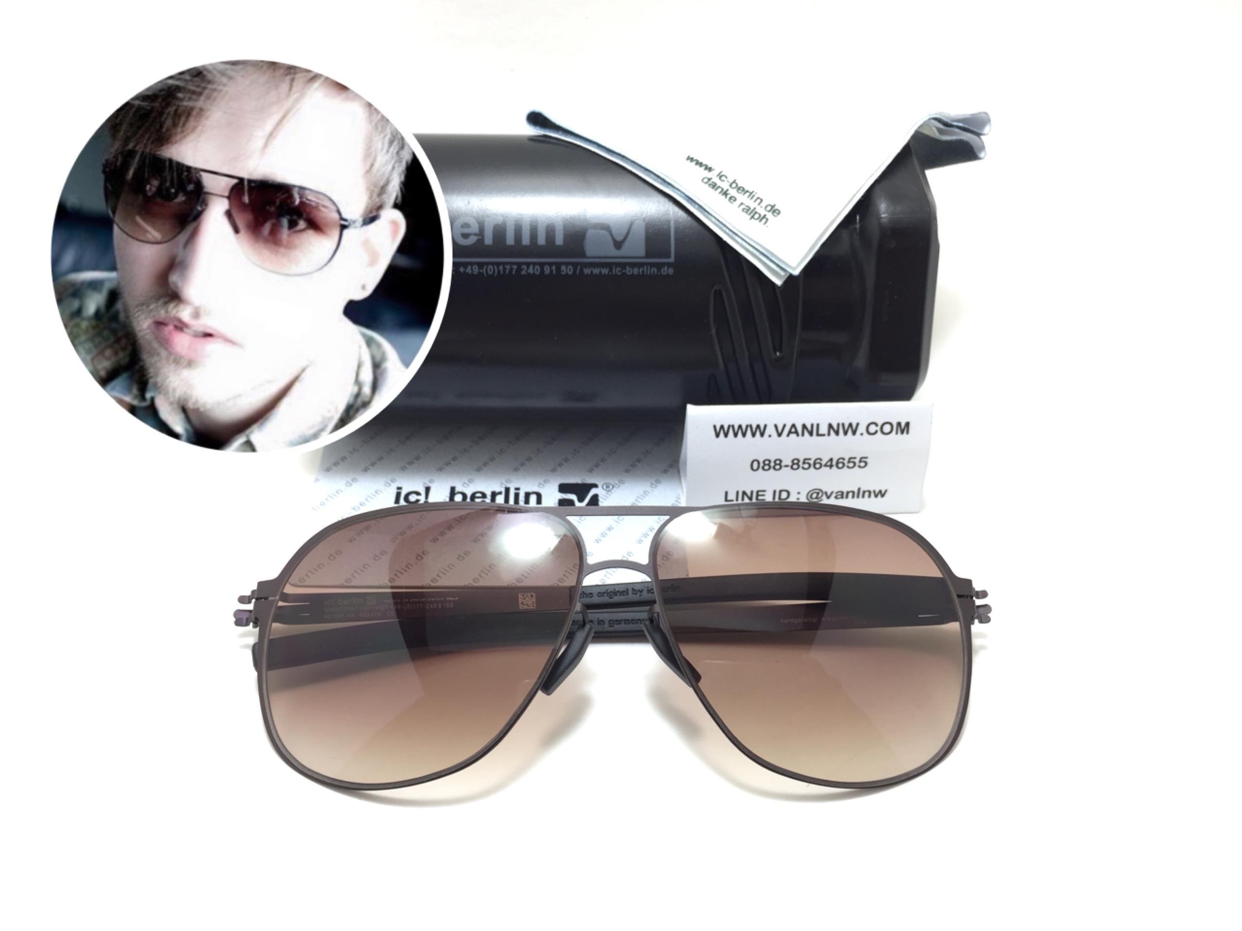 แว่นกันแดด ic berlin model aubergine n. aubergine 59-13 <น้ำตาล>