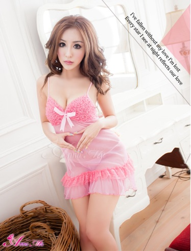 2in1 Sweet Pink Sexy Babydoll ชุดนอนเซ็กซี่ซีทรูสีชมพูแต่งระบายที่อก ระบายชาย พร้อมจีสตริง