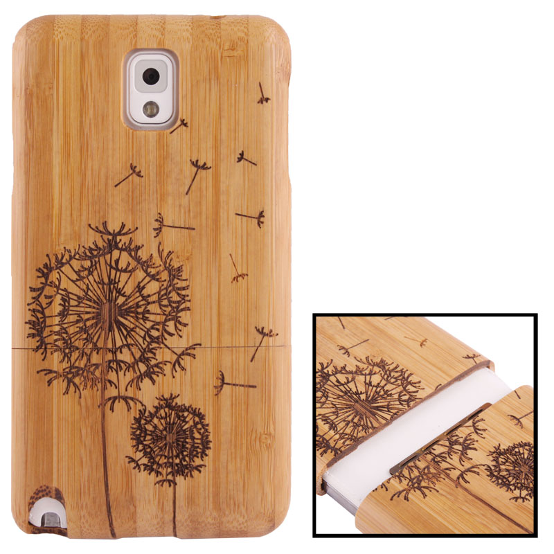 Woodcarving Dandelion Pattern Detachable Bamboo Material Case เคส Samsung Galaxy Note 3 (III) / N9000 ซัมซุง กาแล็คซี่ โน๊ต 3