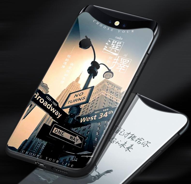 (774-001)เคสโทรศัพท์มือถือ Case OPPO Find X เคสนิ่มพื้นหลังกระจกนิรภัยลายกราฟฟิค