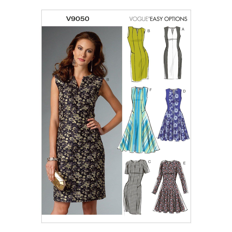 แพทเทิร์นตัดเดรสสตรี มิกซ์แอนด์แมช Vogue 9050E5 ไซส์ใหญ่ Size: 14-16-18-20-22 (อก 36-44 นิ้ว)