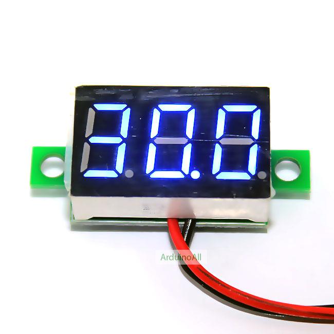 """ดิจิตอล โวลต์มิเตอร์ 4.5-30V จอขนาด 0.36"""" Mini Digital Voltmeter DC 4.5-30V Voltage Meter Voltmeter 4.5-30V สีน้aเงิน"""