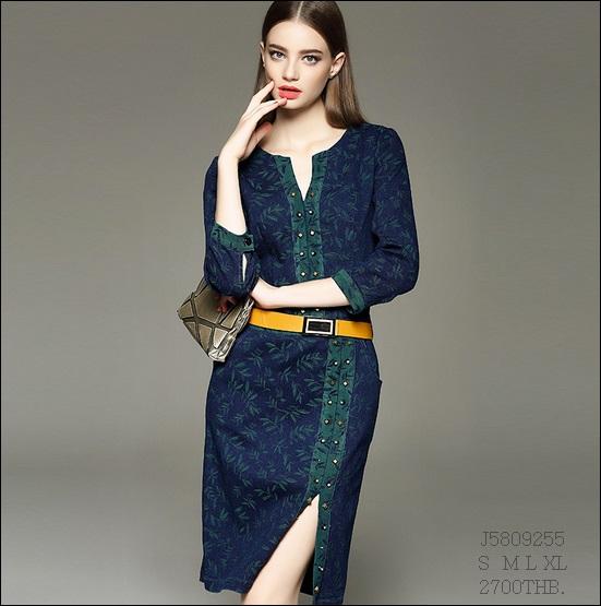 J5809255 / S M L XL / 2015 Denim Fashion Style พรีออเดอร์ งานคัตติ้งยุโรป คุณภาพดีสมราคา สวยคอนเฟริ์ม