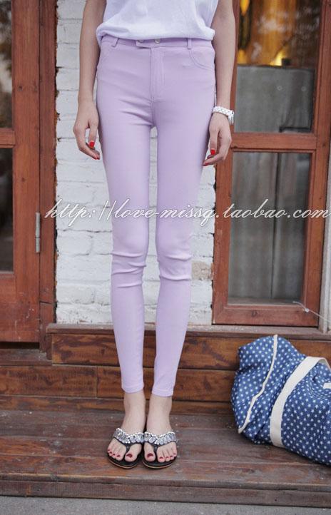 กางเกงเลกกิ้ง สีม่วง พร้อมส่ง