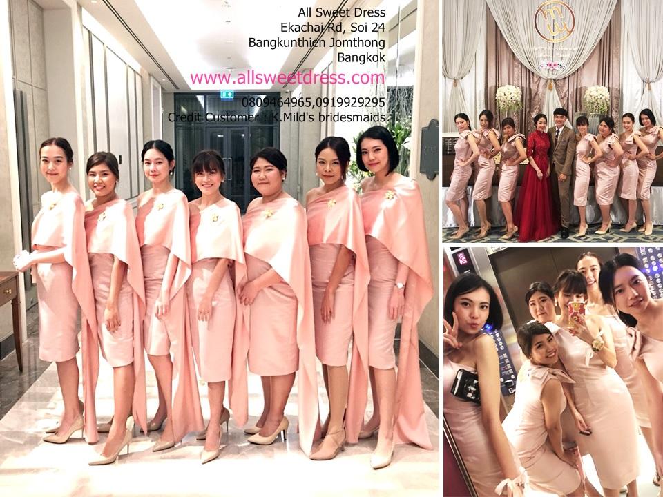 รีวิวชุดราตรีสั้นเซทเพื่อนเจ้าสาวเป็นเดรสไหล่เฉียงเข้ารูปสวยเก๋มีสไตล์ ห่มสไบในพิธีเช้าเป็นไทยประยุกต์สวยๆ ของร้านเช่าชุดราตรี allsweetdress ฝั่งธนค่ะ