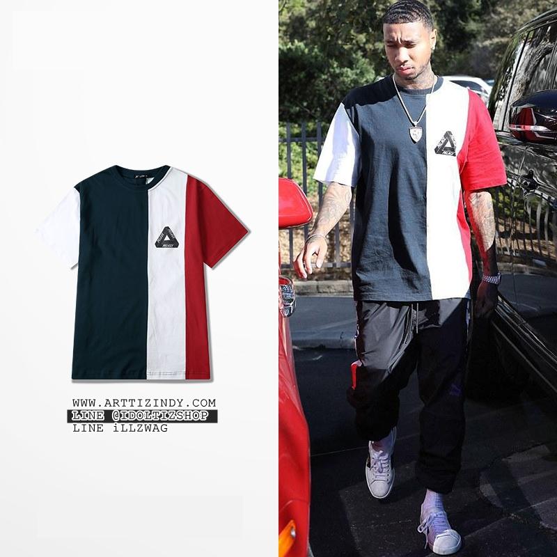 เสื้อยืด PALACE VERTICAL TRI STRIPE Navy-white-red -ระบุไซต์-