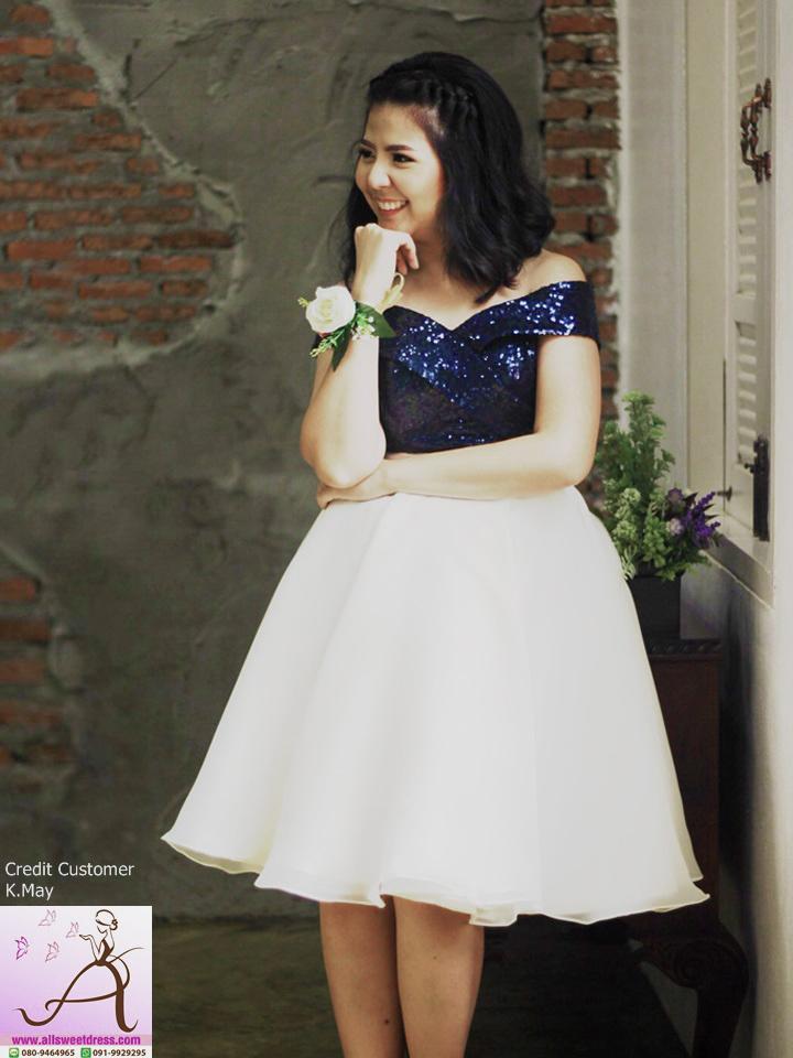 รีวิวชุดราตรีสั้นปาดไหล่ทูโทนสวยๆ น่ารักๆ จากน้องเมย์ จรัลสนิทวงศ์ ที่ใช้บริการเช่าชุดของ allsweetdress ค่ะ