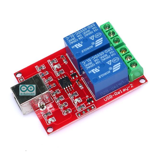 Relay Usb Module Usb Relay 2 Channal โมดูล Relay 2 ช่อง ควบคุมด้วย USB