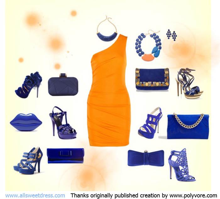 ภาพตัวอย่างการเลือกสีกระเป๋าออกงานให้ตัดกับโทนสีของชุดราตรี ชุดออกงาน ในวิธีที่ 3