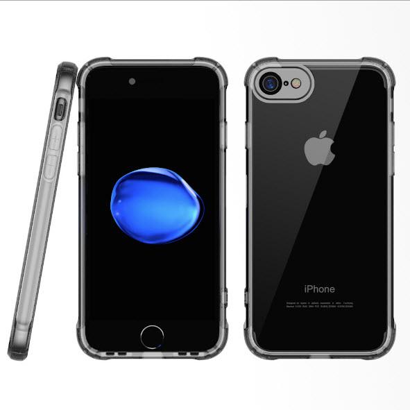 เคสไอโฟนรุ่นปกป้องกล้อง Premium (ขอบยาง หลังพลาสติกแข็ง ป้องกันเคสเหลือง) Iphone 7 (ขอบดำใส หลังใส)