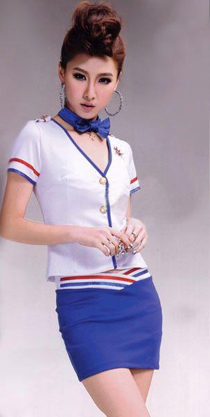 air060 ชุดคอสเพลย์แฟนซี แอร์โฮสเตสเสื้อสีขาวกระโปรงสำน้ำเงิน ผ้ายืดนิ่มเนื้อผ้าดีมากๆเลยค่ะ