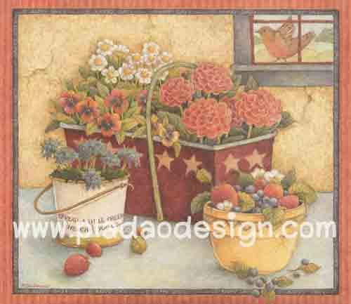 กระดาษอาร์ตพิมพ์ลาย สำหรับทำงาน เดคูพาจ Decoupage แนวภาพ หวานๆซอฟท์ๆ นกน้อยบินอยู่ข้างหน้าต่าง มีโต๊ะวางกระถางใส่ดอกไม้ 3 ใบ อยุ่ข้างๆ (ปลาดาวดีไซน์)