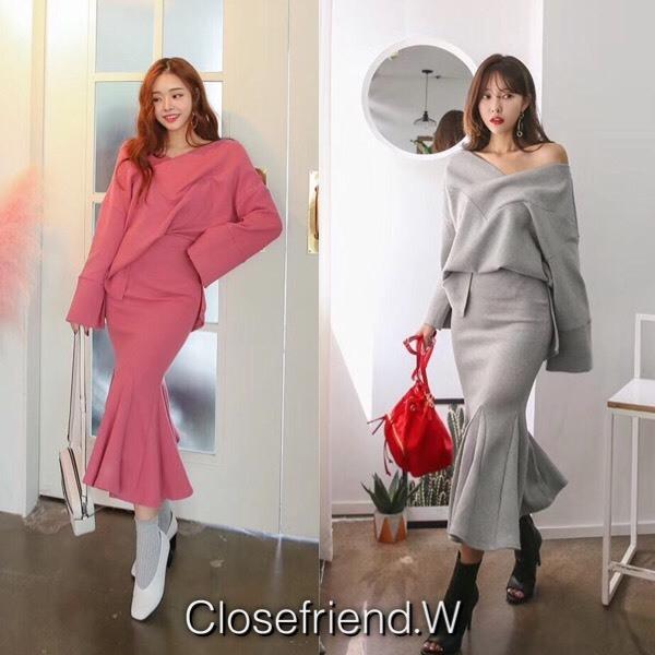 เสื้อผ้าเกาหลี พร้อมส่ง เสื้อ+กระโปรง
