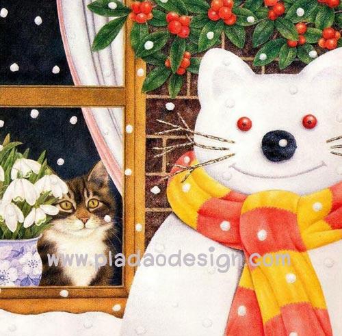 กระดาษสาพิมพ์ลาย สำหรับทำงาน เดคูพาจ Decoupage แนวภาพ แมวน้อยในบ้านแอบมองตุ๊กตาหิมะแมวใหญ่นอกบ้าน