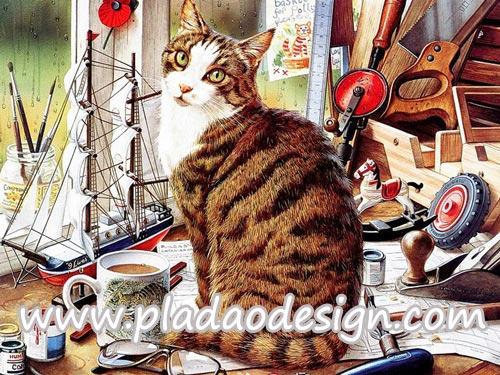 กระดาษสาพิมพ์ลาย สำหรับทำงาน เดคูพาจ Decoupage แนวภาำพ เจ้าแมว3สี นั่งเฝ้าเจ้าของทำงานประดิษฐ์ ชิ้นงานเก๋ๆ