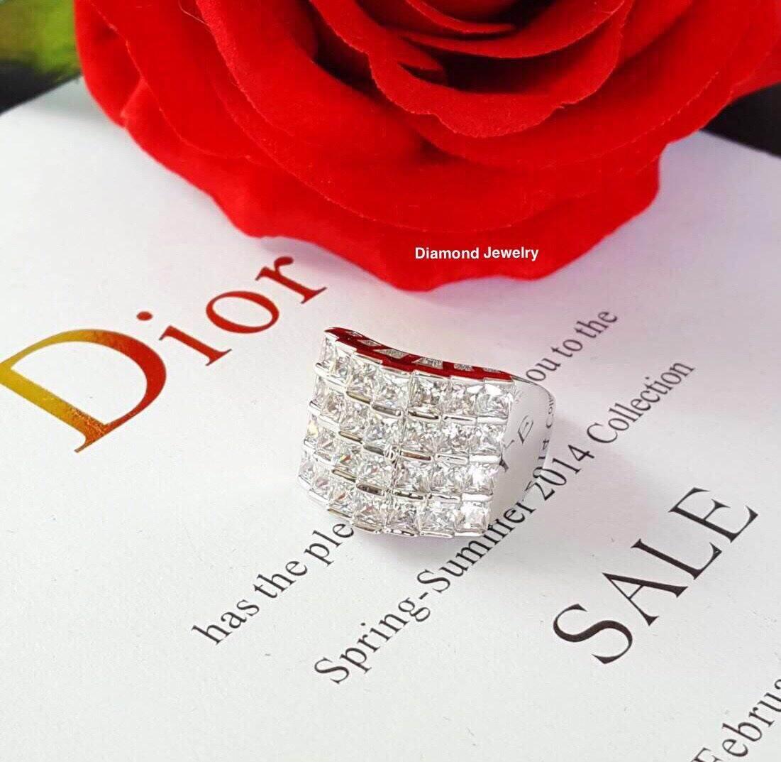 พร้อมส่ง แหวนเพชร princess cut 4 แถว