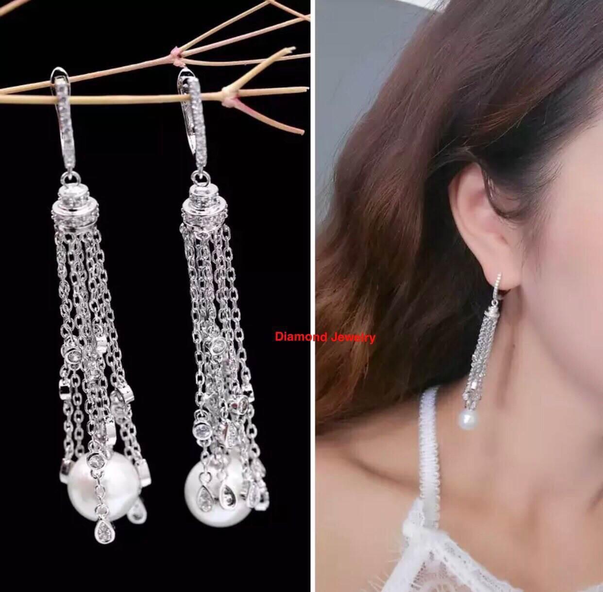 พร้อมส่ง Diamond Earring งานเพชร CZ แท้ประดับมุก
