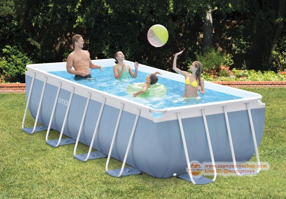 ( ขนาด 14 ฟุต ) สระว่ายน้ำ ขนาดใหญ่ Intex 26778 Prism Frame above ground pool 488 x 244 x 107 Cm