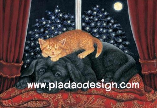 กระดาษสาพิมพ์ลาย สำหรับทำงาน เดคูพาจ Decoupage แนวภาพ แมวขนทองนอนบนหลังเพื่อนซี้ต่างสายพันธู์ พี่หมาดำอย่างมีความสุข