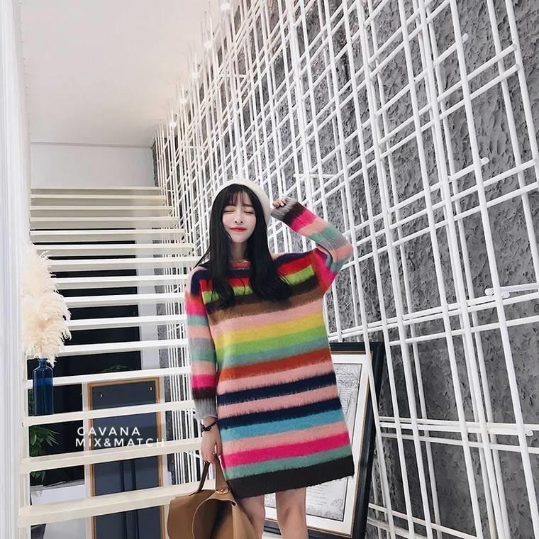 เดรสเกาหลี พร้อมส่ง มินิเดรส Rainbow