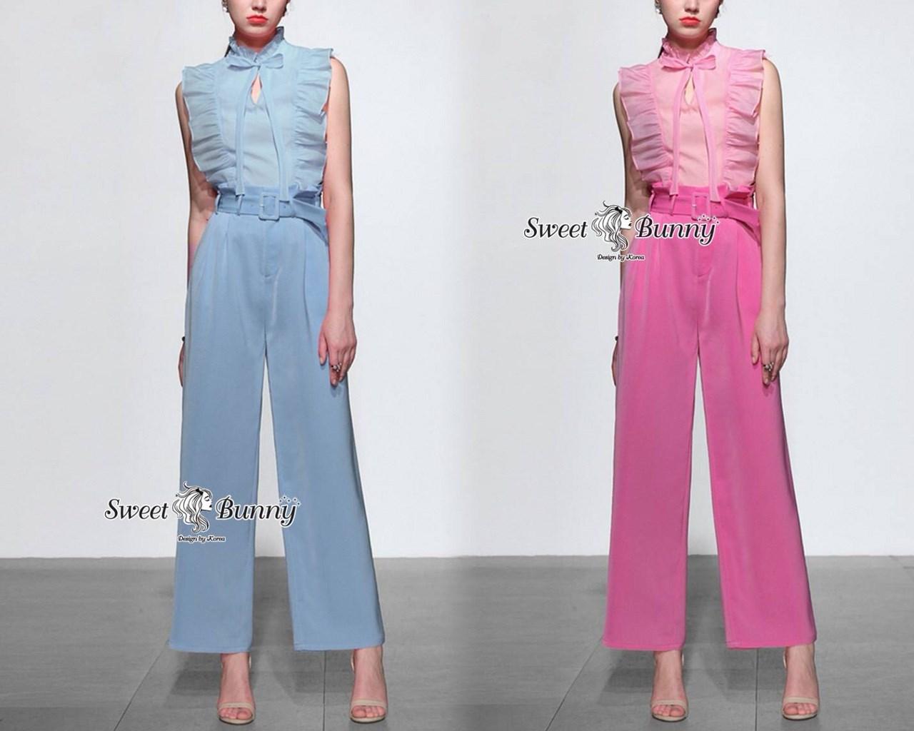 เสื้อผ้าเกาหลี พร้อมส่ง ชุดเซ็ทเสื้อ+กางเกง+เข็มขัด