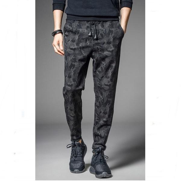 กางเกงขายาวแฟชั่น ทรงJOGGER ลายพรางสีดำ รุ่น KOMA LP0019