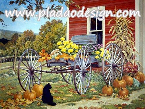 กระดาษสาพิมพ์ลาย สำหรับทำงาน เดคูพาจ Decoupage แนวภาำพ แมวดำนั่งใกล้ฟักทอง หน้าเกวียนขนาดใหญ่ที่ประดับดอกไม้และฟักทอง