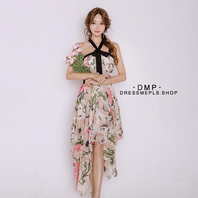 เดรสเกาหลี พร้อมส่ง เดรส ผ้าชิฟฟ่อนพิมพ์ลายดอก