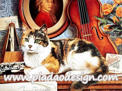 กระดาษสาพิมพ์ลาย สำหรับทำงาน เดคูพาจ Decoupage แนวภาำพ แมวน้อยของนักดนตรี นอนบนเปียโนข้างๆเครื่องดนตรีเตรียมตัวฟังเพลง Cats