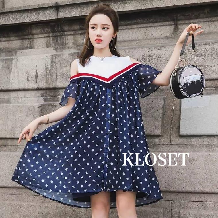 เดรสเกาหลี พร้อมส่ง Mini dress เปิดไหล่ ทรงหลวมๆ