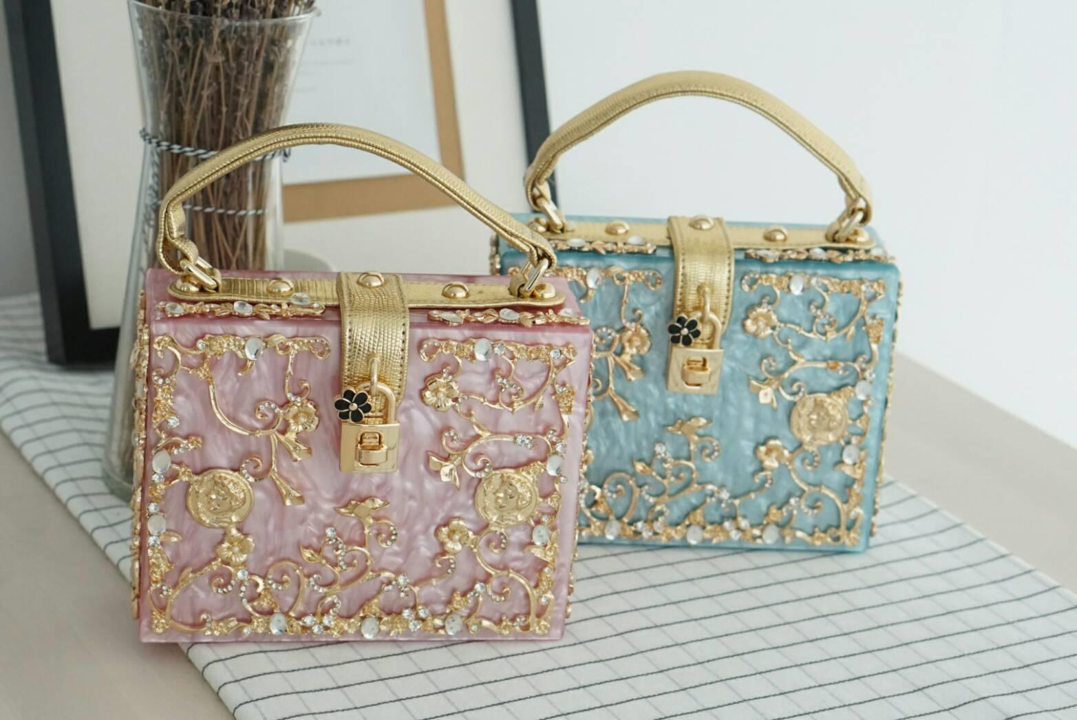 Dolce & gabbana gold diamond acylic luxury handbag