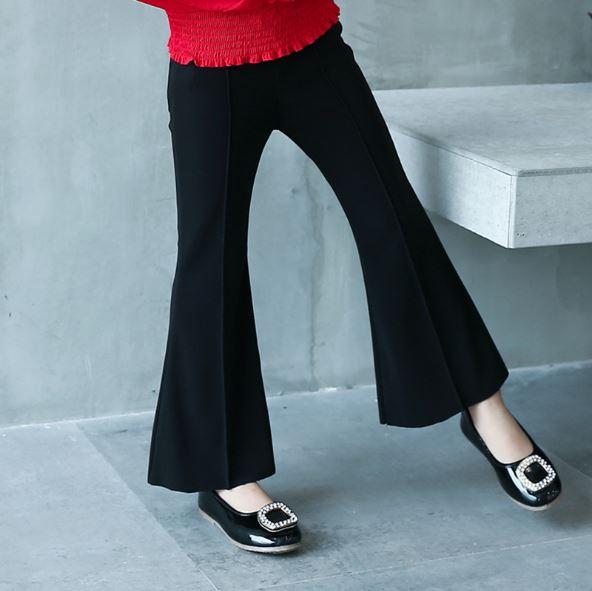 กางเกงเด็กผู้หญิงขายาวสีดำขาม้า