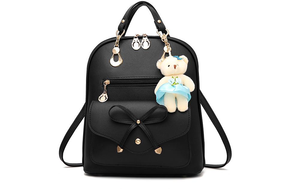กระเป๋าเป้พวงกุญแจหมี หนัง PU ปรับสายให้สะพายไหล่ สะพายข้างได้ สีดำหน้าโบว์