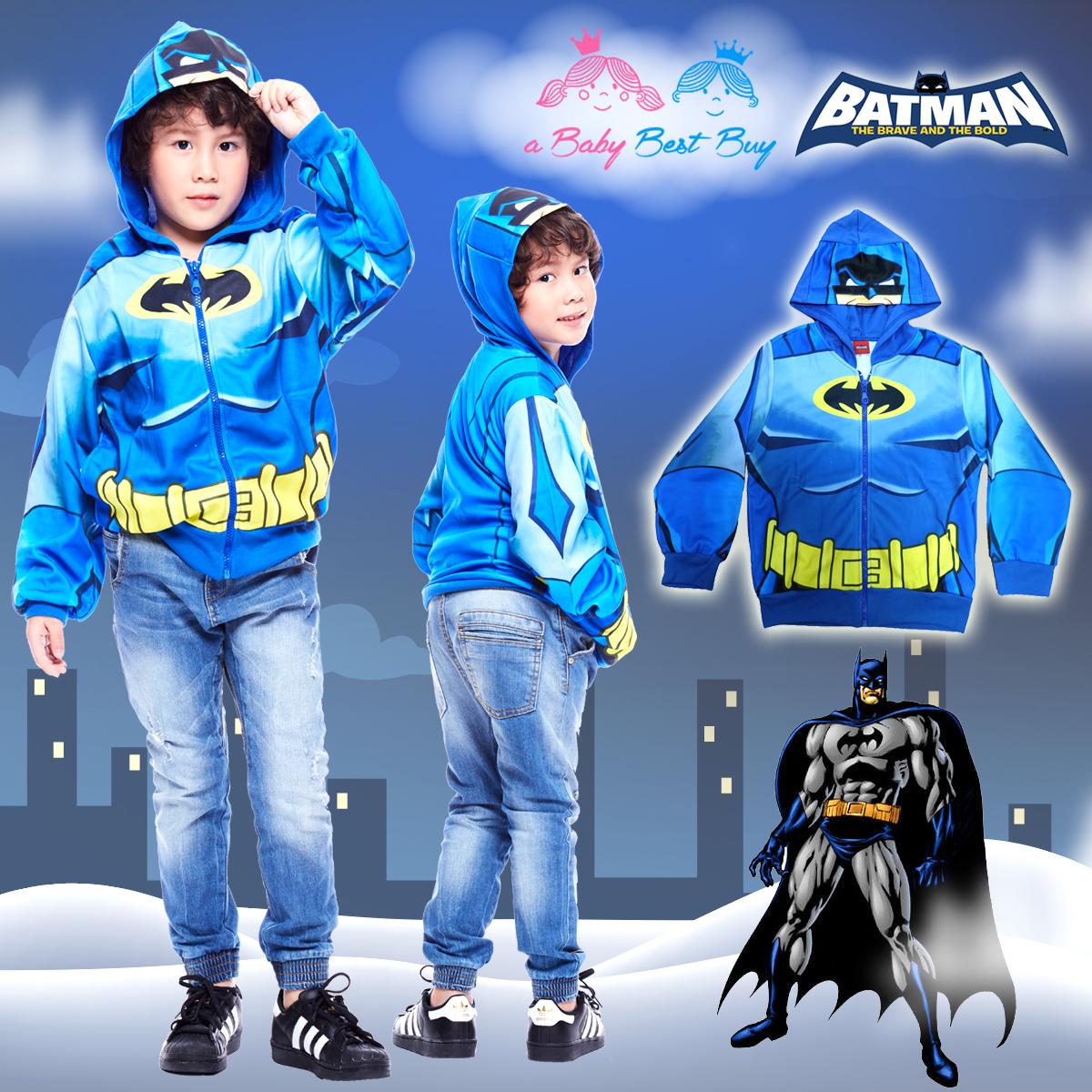 """"""" S-M-L-XL """" เสื้อแจ็คเก็ต เสื้อกันหนาว เด็กผู้ชาย เสื้อกันหนาวเด็ก BAT MAN รูดซิป มีหมวก(ฮู้ด)สกรีนหน้า BAT MAN ใส่คลุมกันหนาว กันแดด สุดเท่ห์ ใส่สบาย ลิขสิทธิ์แท้ (ไซส์ S-M-L-XL )"""