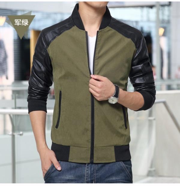Pre-Order เสื้อแจ็คเก็ตผู้ชายสีทูโทน เสื้อแจ็คเก็ตธุรกิจผู้ชาย เสื้อแจ็คเก็ตผู้ชายสไตล์ลำลอง ผ้าฝ้ายผสมหนัง สีเขียวเข้ม