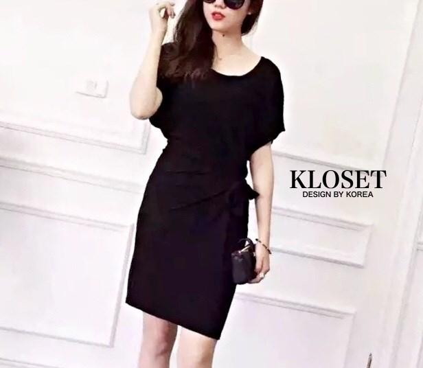 Mini dress คอกลม แขนสั้น สีดำ สีเทา เย็บต่อเชือกผุกเอว สำเนา