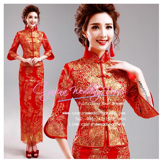 f-0276 ชุดหมั้นพิธีจีน ชุดกี่เพ้าน่ารักสำหรับใส่งานยกน้ำชา สีแดง แขนยาว สวย หรู ดูดีมากๆค่ะ