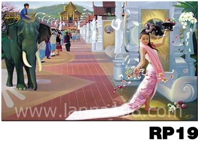 ภาพวาดแนวจริยศิลป์ล้านนา พิมพ์ลงผ้าใบ รหัสสินค้า RP - 19
