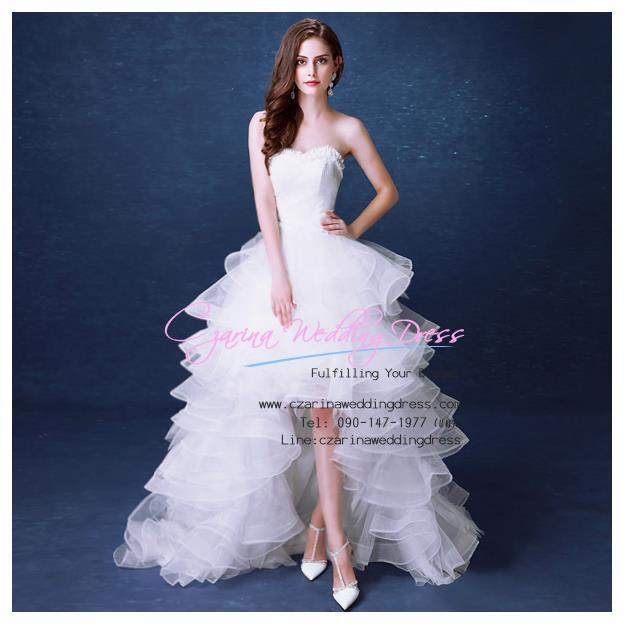 ws5038 ขาย ชุดแต่งงานสั้น ชุดเจ้าสาว หน้าสั้นหลังยาว สวย เก๋ หรู ราคาถูกกว่าเช่า