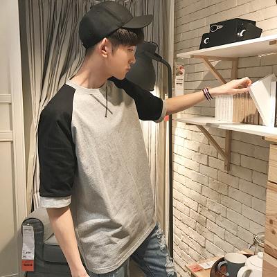 เสื้อยืดแขนสั้นเกาหลี ทรงหลวม แต่งแขนเสื้อ มี3สี