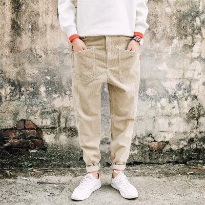 กางเกงขายาวญี่ปุ่น ผ้าลูกฟูกสีเบจ แต่งกระเป๋ากางเกง