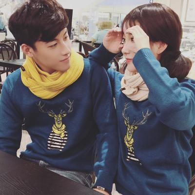 เสื้อแขนยาวคู่รักเกาหลี แต่งลายการ์ตูนด้านหน้า มี3สี