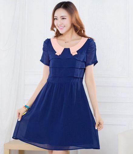 ++เสื้อผ้าไซส์ใหญ่++ QLX *พร้อมส่ง* ชุดเดรสเกาหลีไซส์ใหญ่แขนสั้นจับเดรปสวยเก๋ผ้าชีฟองสีน้ำเงินแต่งปกสีส้ม+ระบาย 3 ชั้นด้านหน้ากระโปรงจับจีบบางๆพริ้วสวยค่ะ (L,2XL)