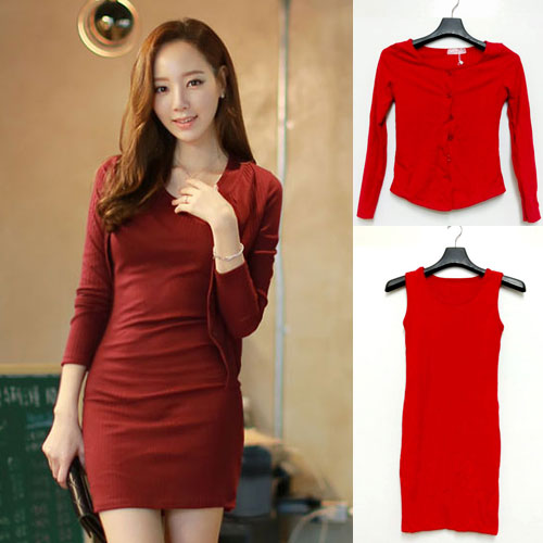 ++สินค้าพร้อมส่งค่ะ++ ชุดเดรสเกาหลี 2 ชิ้น เสื้อ cardigan แขนยาว กระดุมหน้า+เดรส แขนกุด ทรงเข้ารูปกระชับเก๋ มี 2 สีค่ะ – สีแดง