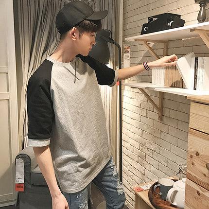 เสื้อยืดแขนห้าส่วนเกาหลี แต่งลายกากบาทคอเสื้อ มี3สี