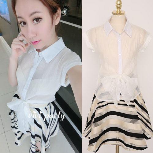 ViVi Party ++สินค้าพร้อมส่งค่ะ++ชุดเซ็ทเกาหลี เสื้อคอปก แขนเลย กระดุมหน้าแต่งโบว์ผูกหน้าสวย+กระโปรงลายริ้วดีไซด์น่ารัก – สีดำ