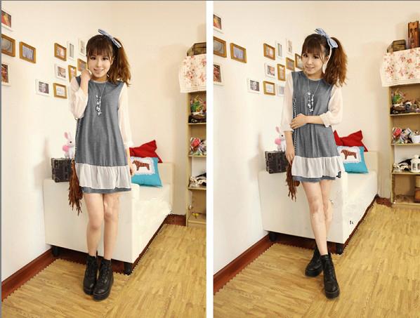 ++เสื้อผ้าไซส์ใหญ่++ Qiaoyi *Pre-Order *ชุดเดรสเกาหลีไซส์ใหญ่แขนยาวผ้าฝ้ายเนื้อนุ่มแต่งระบายด้วยผ้าชีฟองน่ารักมากค่ะ