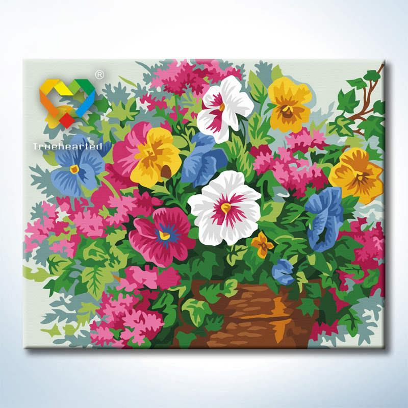 รหัส HB4050367 ภาพระบายสีตามตัวเลข Paint by Number แบบ Flowers cluster mirrors ขนาด40x50cm/พร้อมส่ง