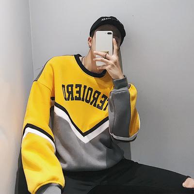 เสื้อกันหนาวเกาหลี แต่งแถบเส้นตัวV แนวฮิปฮอป มี2สี