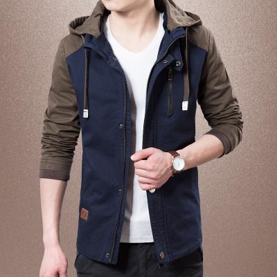 Pre Order เสื้อแจ็คเก็ตชายเทรนด์เกาหลี เสื้อแขนยาว มีHOOD แต่งสลับสี มี4สี
